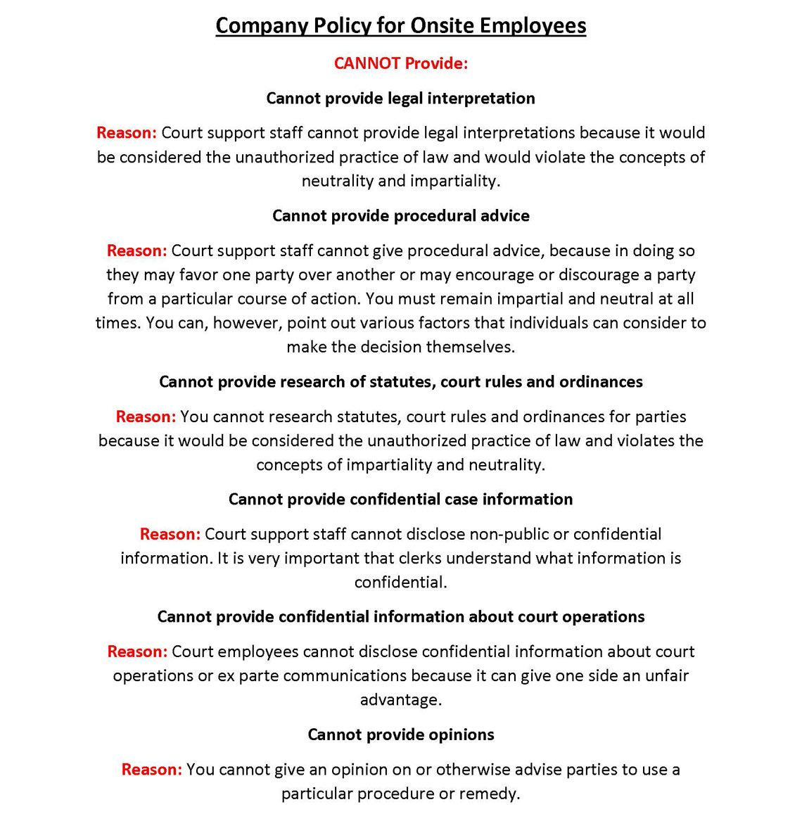 company policy for onsite employees part 1